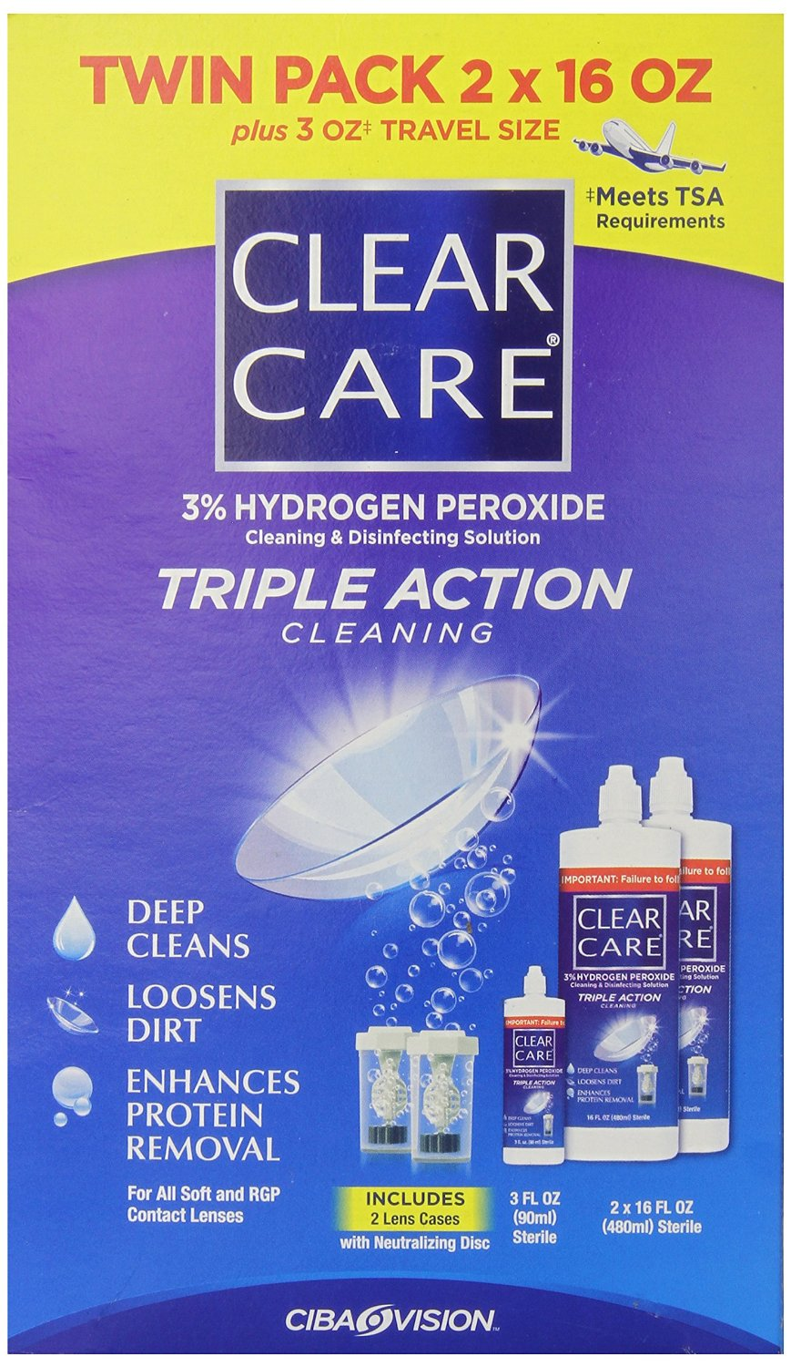 Clear Care 3% Hydrogen peroxide Triple Action Lens Cleaner