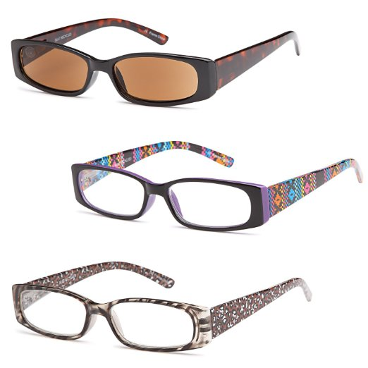 Three pair of Funky High Quality Spring Hinge Reading Glasses