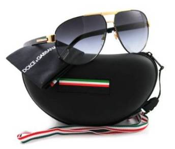 Dolce and Gabbana Gold Black Sunglasses with Gradient Gray Lenses
