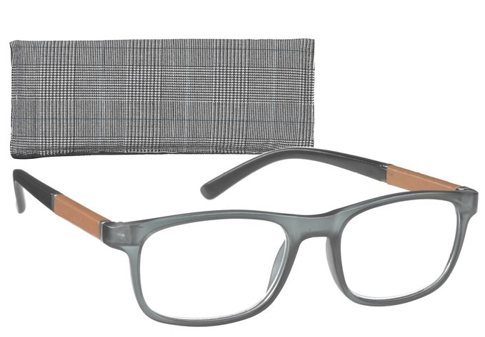 Rectangular Men's Reading Glasses with Leatherette Trim Temples