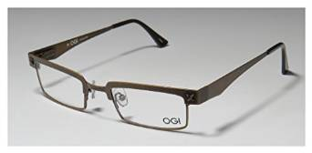 Ogi 3501 Antique Gold and Brown Rectangular Full Rim Eyeglasses