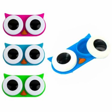 Kikkerland Owl Contact Lens Case, Assorted Colors