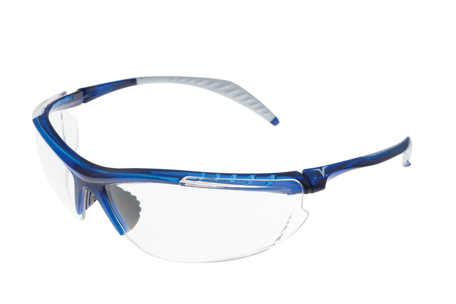 Encon Wraparound Veratti Clear Lens Safety Glasses with a Translucent Blue Frame