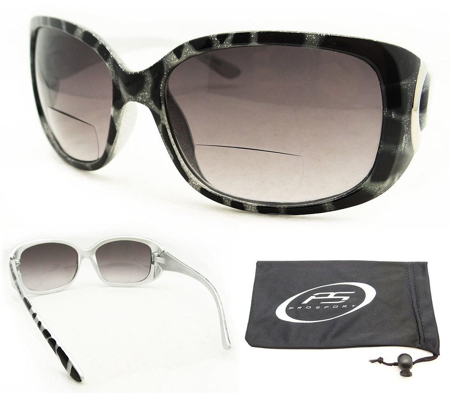 Trendy Bifocal Sunglasses for Women with Sexy Animal Pattern Frames and Chrome Accent. Free Microfiber Cleaning Case