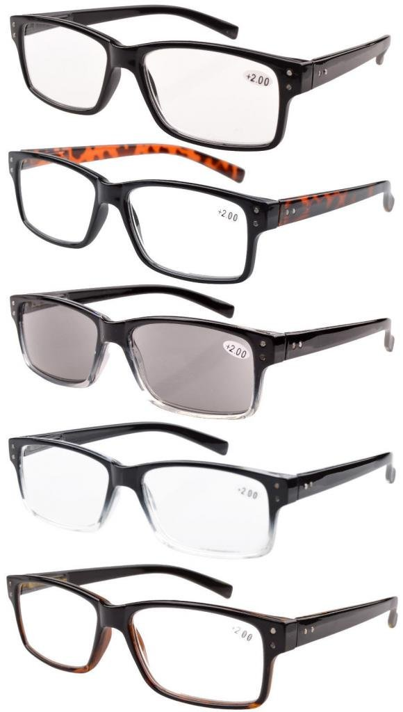 5-pack Spring Hinges Vintage Reading Glasses with Sun Readers +1.50