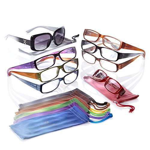 Joy Mangano Super Chic Ombre Readers Mega Set with FREE Bifocal Sunglasses +1.50x
