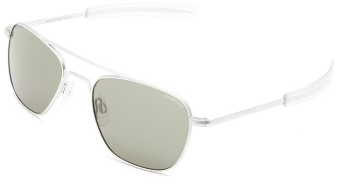 Randolph Matte Chrome Aviator Style Sunglasses