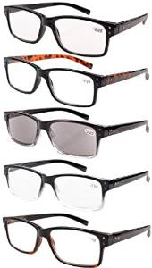 5 pack Mens Reading Glasses includes sunreaders