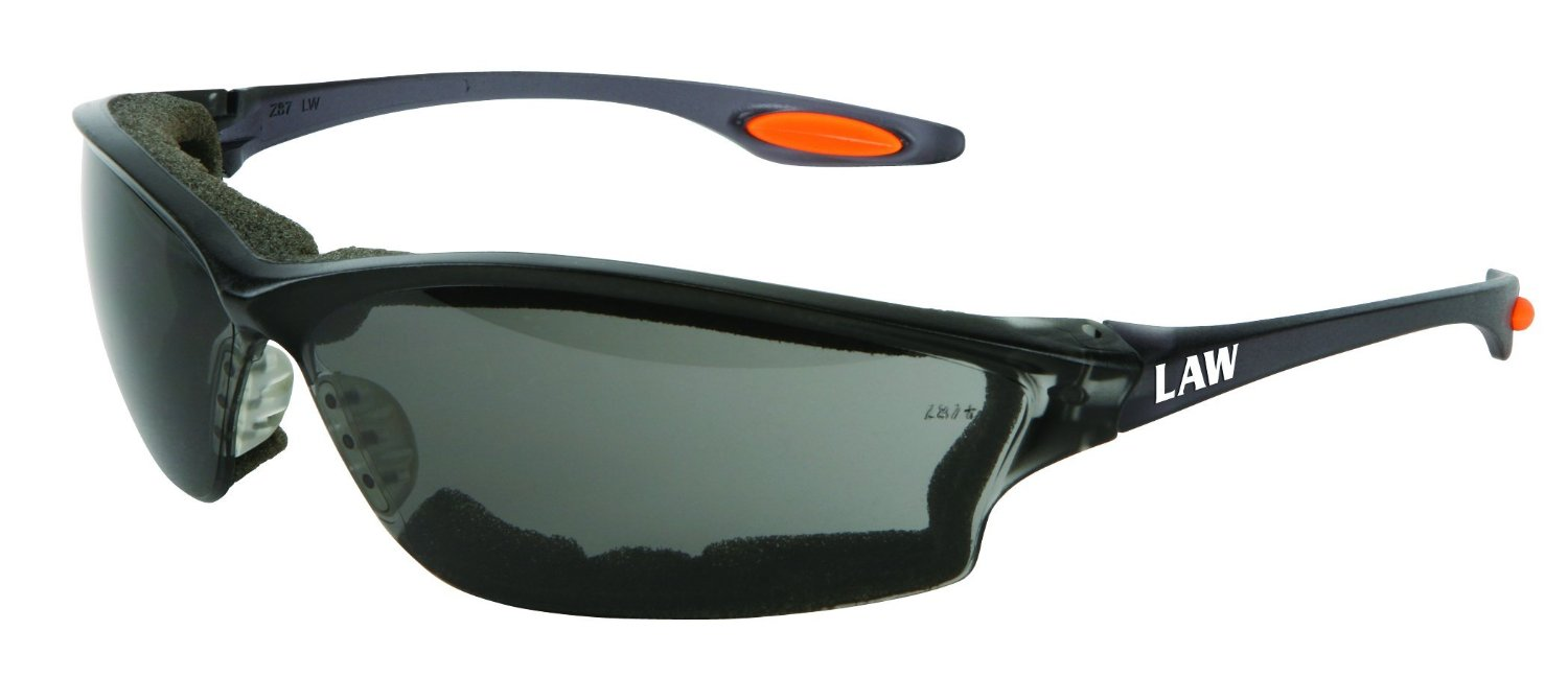 Crews Gray Anti-Fog Safety Glasses with Bayonet Temple