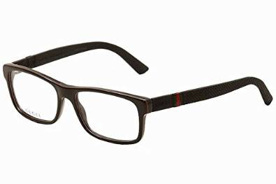Gucci Mens Black Red Green Rectangular Eyeglasses