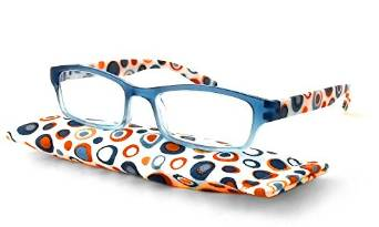 Cool Calabria Hannah Reading Glasses in Orange and Blue
