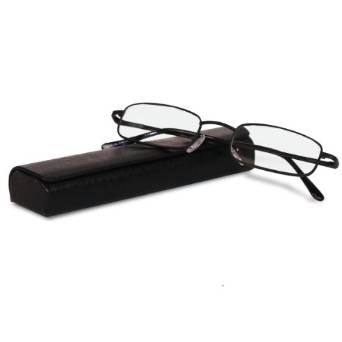 Classically Fashionable Spring Hinged Reading Glasses with Leather Case