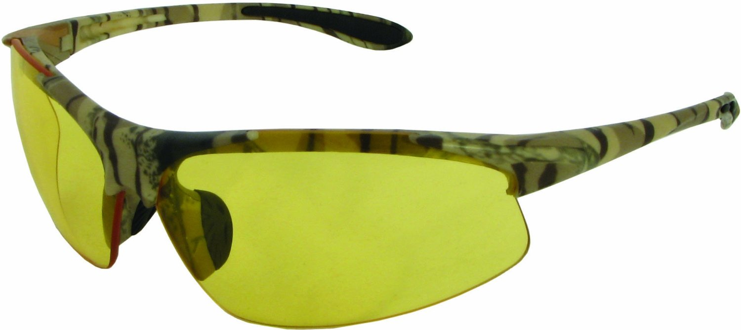 Commandos Safety Glasses with Walnut Camo Frame and Amber Lens