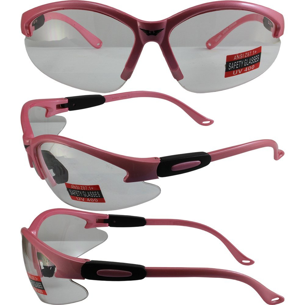 2 Pairs of Cougar AST Safety Glasses - Hot Pink Frame and One Pair with Smoked Lenses and One with Clear