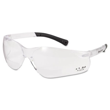 Crews Polished Black Frame Safety Glasses with Blue Diamond Mirror Lens