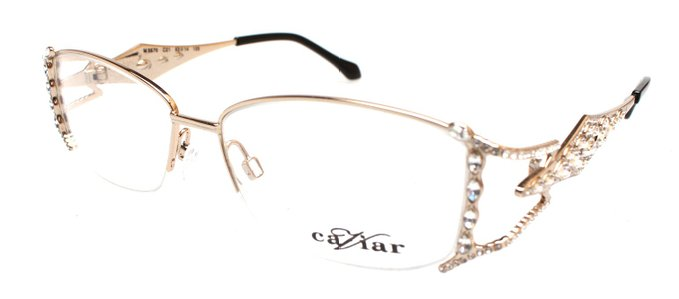 Caviar Crystals Caspian Series Gold Metallic Eyeglasses