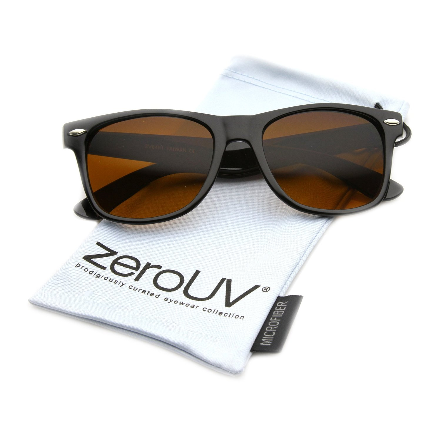 zeroUV - Blue Blocking Horn Rimmed Driving Sunglasses with Amber Tinted Lens