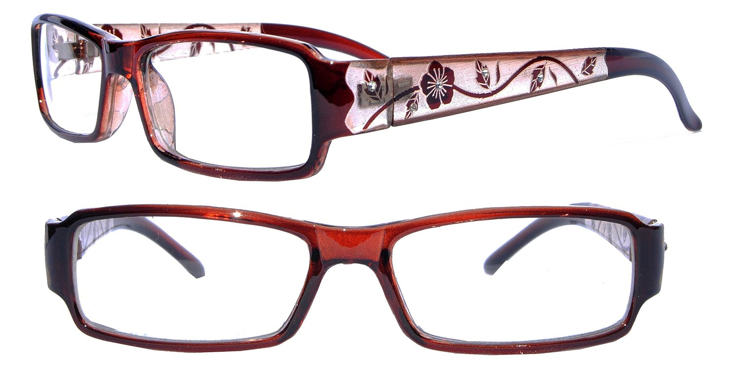 Womens Floral Rhinestone Optical Reading Glasses
