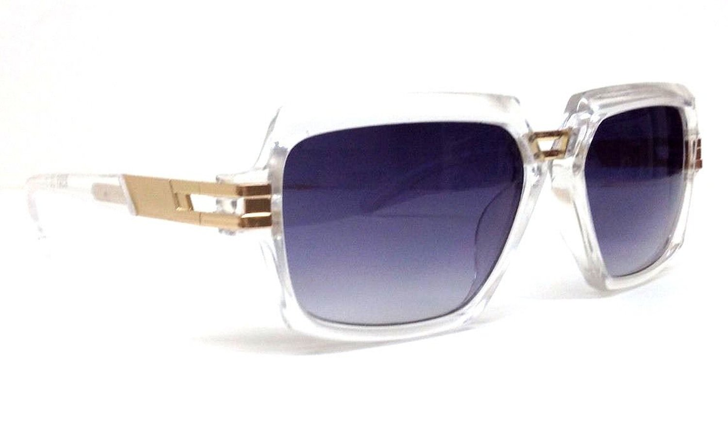 Clear and Gold Gazelle Sunglasses with Black Lenses