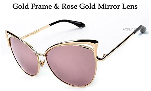 Dita Sexy Cat Eye Gold and Rose Sunglasses
