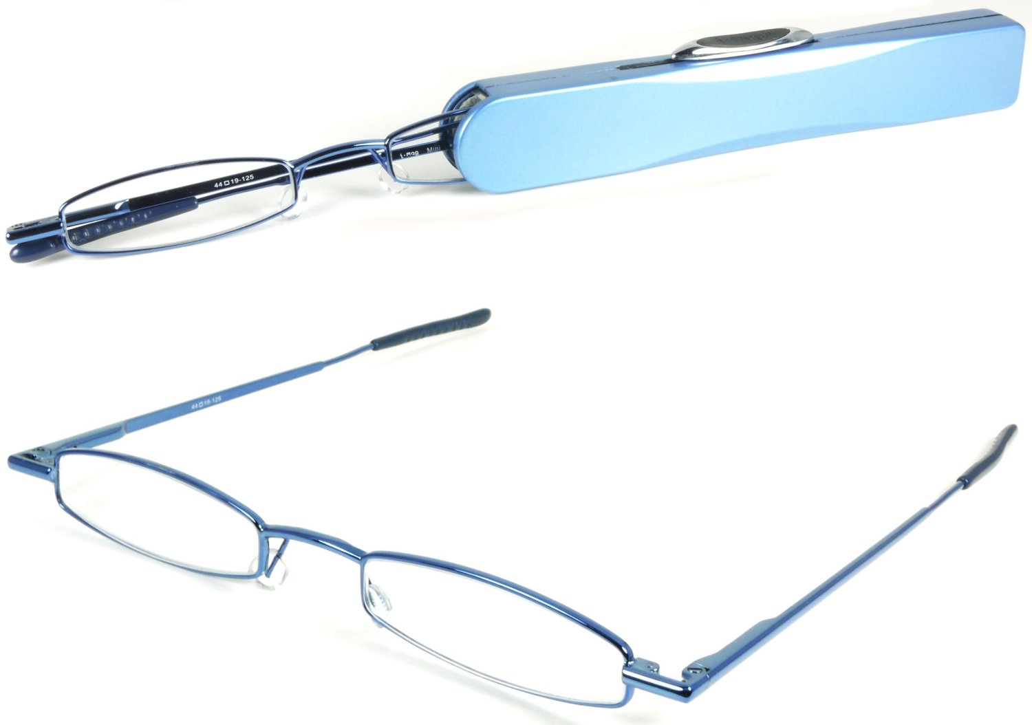 I-Mag Mini Metal Reading Glasses with Spring Hinge and Blue Slide Open Hard Case