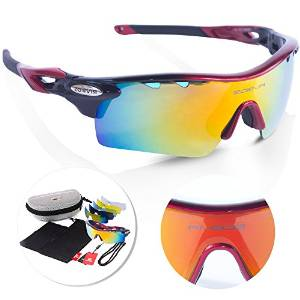 Sports Sunglasses with 5 Interchangeable fluorescent colored lenses