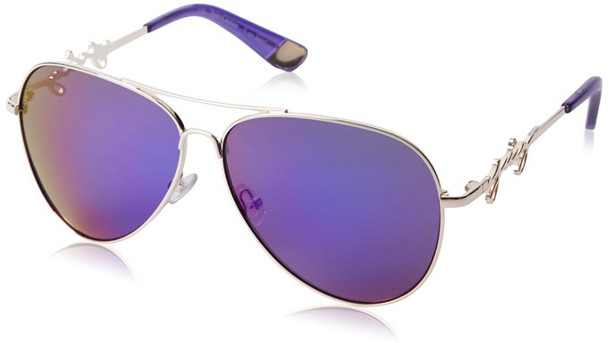 Juicy Couture womens Gold, Grey and Purple Aviator Sunglasses