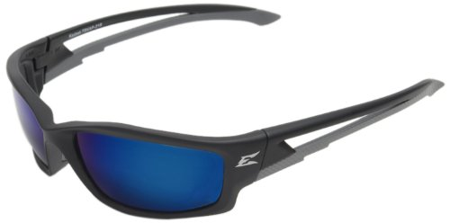 Edge Kazbek Polarized Safety Glasses, Black with Aqua Precision Blue Mirror