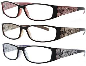 Fiore 3 pack of Beautiful Rhinestone Laser Engraved Reading Glasses