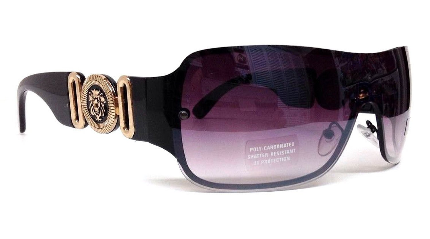 Black Lion Head Medallion Sunglasses