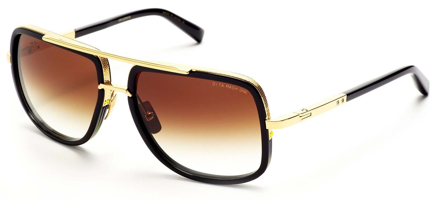 Dita Mach One Sunglasses Shiny 18K Gold with Black