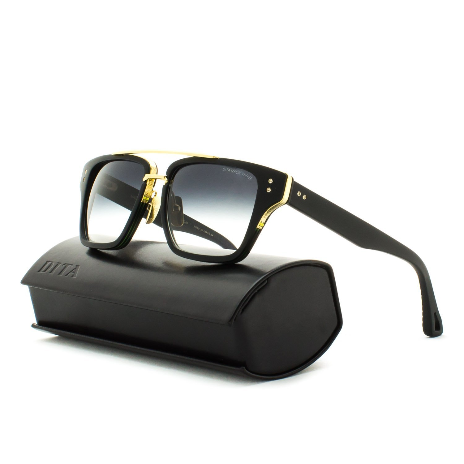 Dita Mach Three Sunglasses Shiny 18K Gold with Black