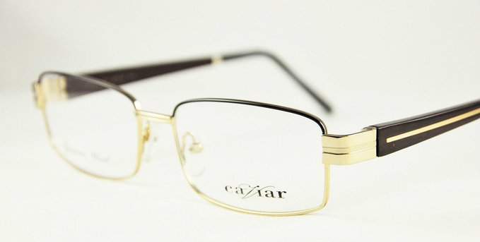 Gold and Dark Mahogany Eyeglasses