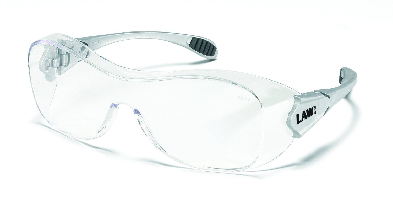 Crews OG110AF Law Over Glasses Clear Anti-Fog Safety Glasses with Hybrid Black Temple Sleeve