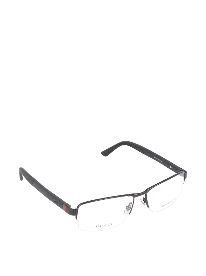 Gucci Metal Black Rimless Glasses
