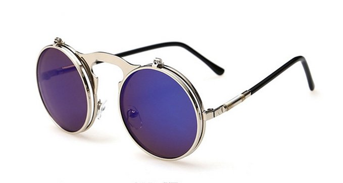 Unisex Retro Metal Steam Flip Fashion Glasses