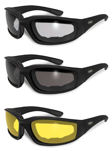 3 Pairs of Kickback Foam Padded Motorcycle Sunglasses