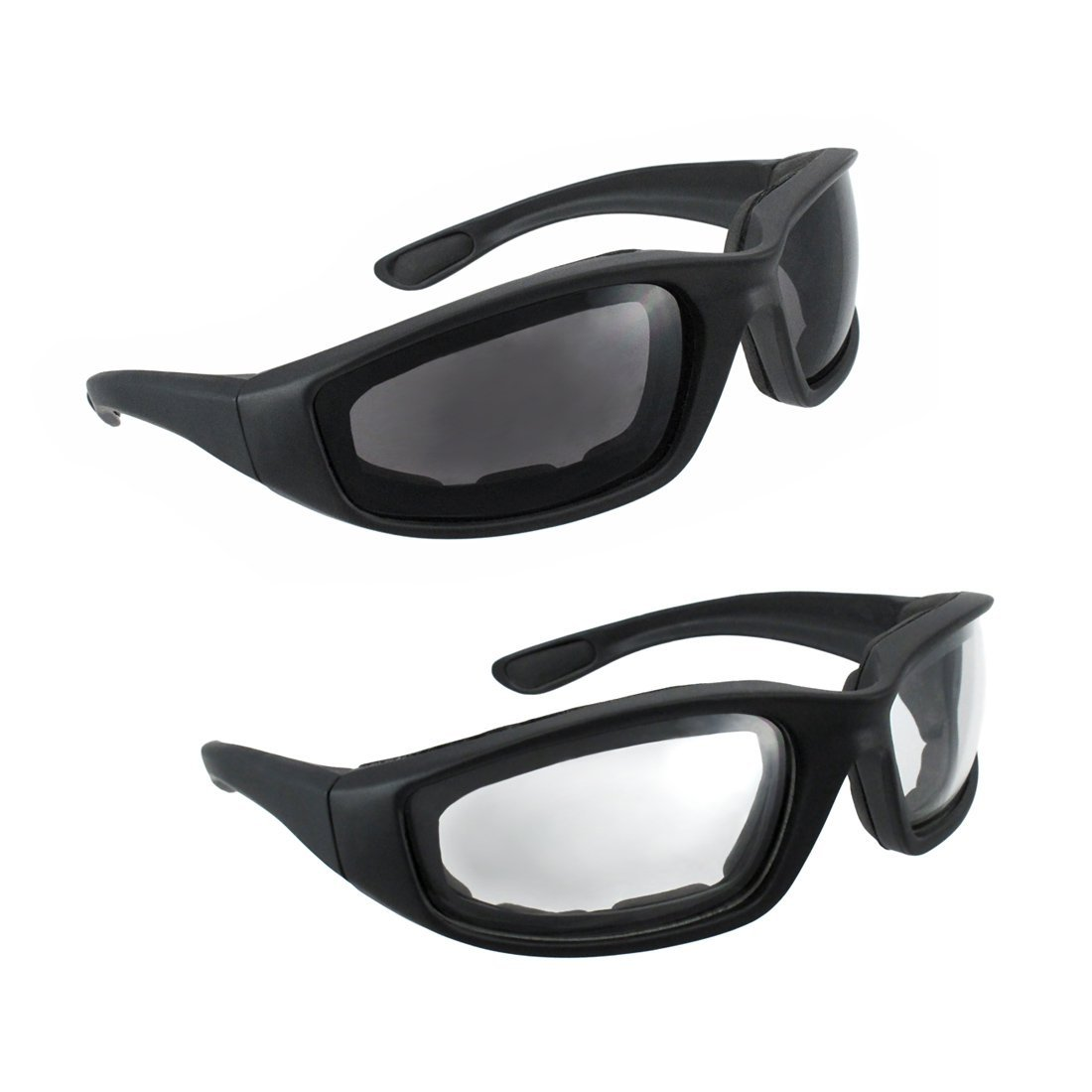Motorcycle Riding Glasses set, one smoke and one clear
