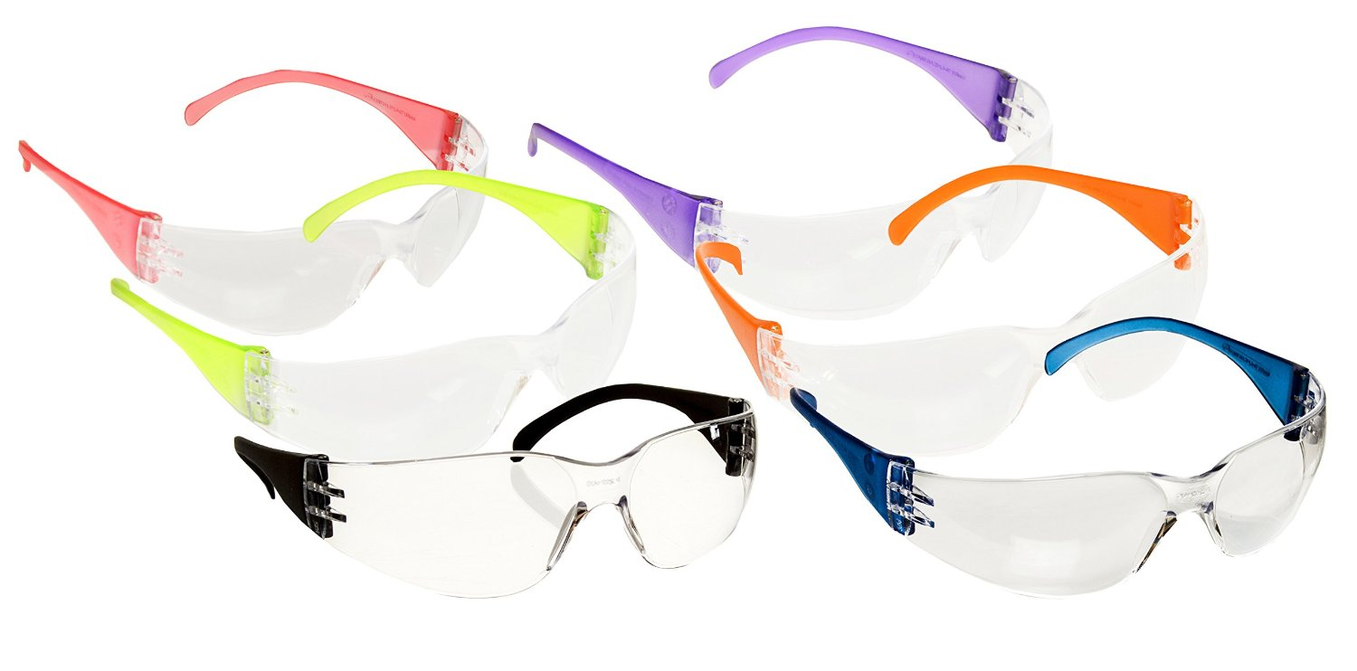 Pack of 12 Adult Safety Glasses with Multi Colored Frames