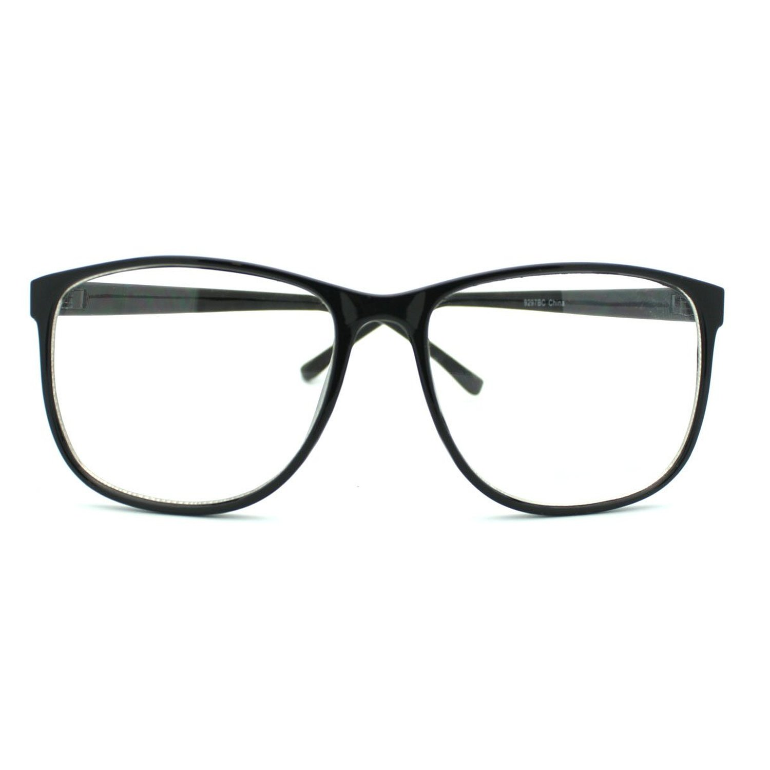Vintage Large Rectangular Nerd Thick Blue Frame Clear Lens