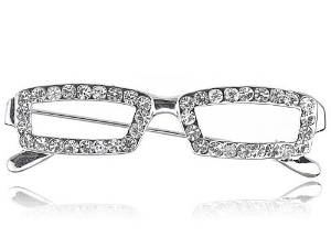Nerdy School Teacher Clear Crystal Rhinestone Reading Glasses Frame