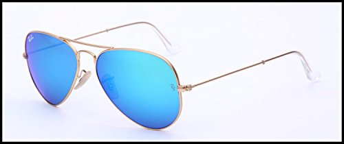 Original Ray Ban Aviator Sunglasses with Matte Gold Frame and Blue Mirror Lenses