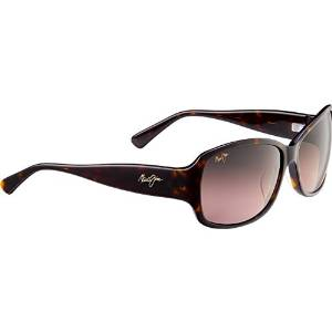 Maui Jim Punchbowl Polarized Rectangular Sunglasses with a Tortoise and Pink Frame