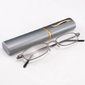 Slim Reading Glasses in a Polished Aluminum Tube Case
