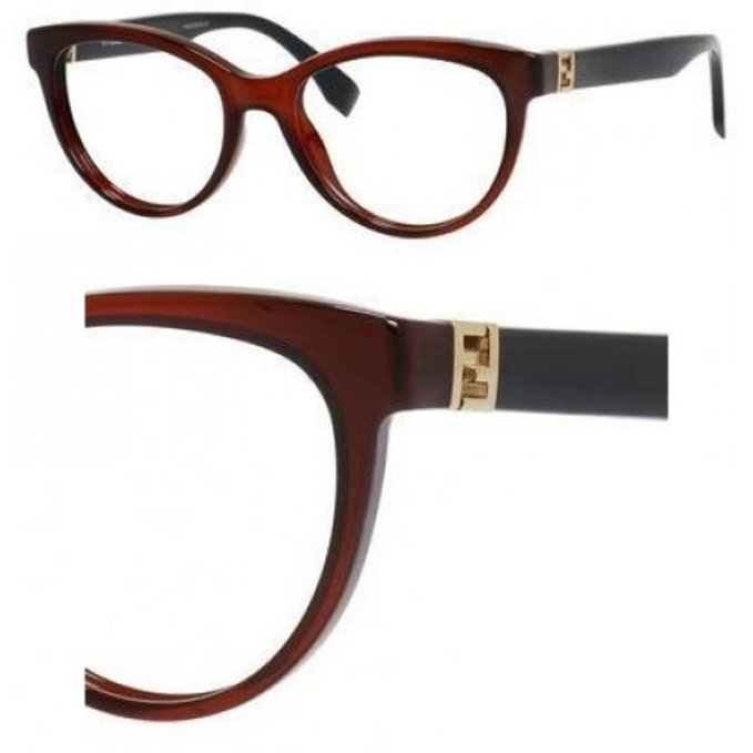 Fendi Transparent Red Blue Eyeglasses