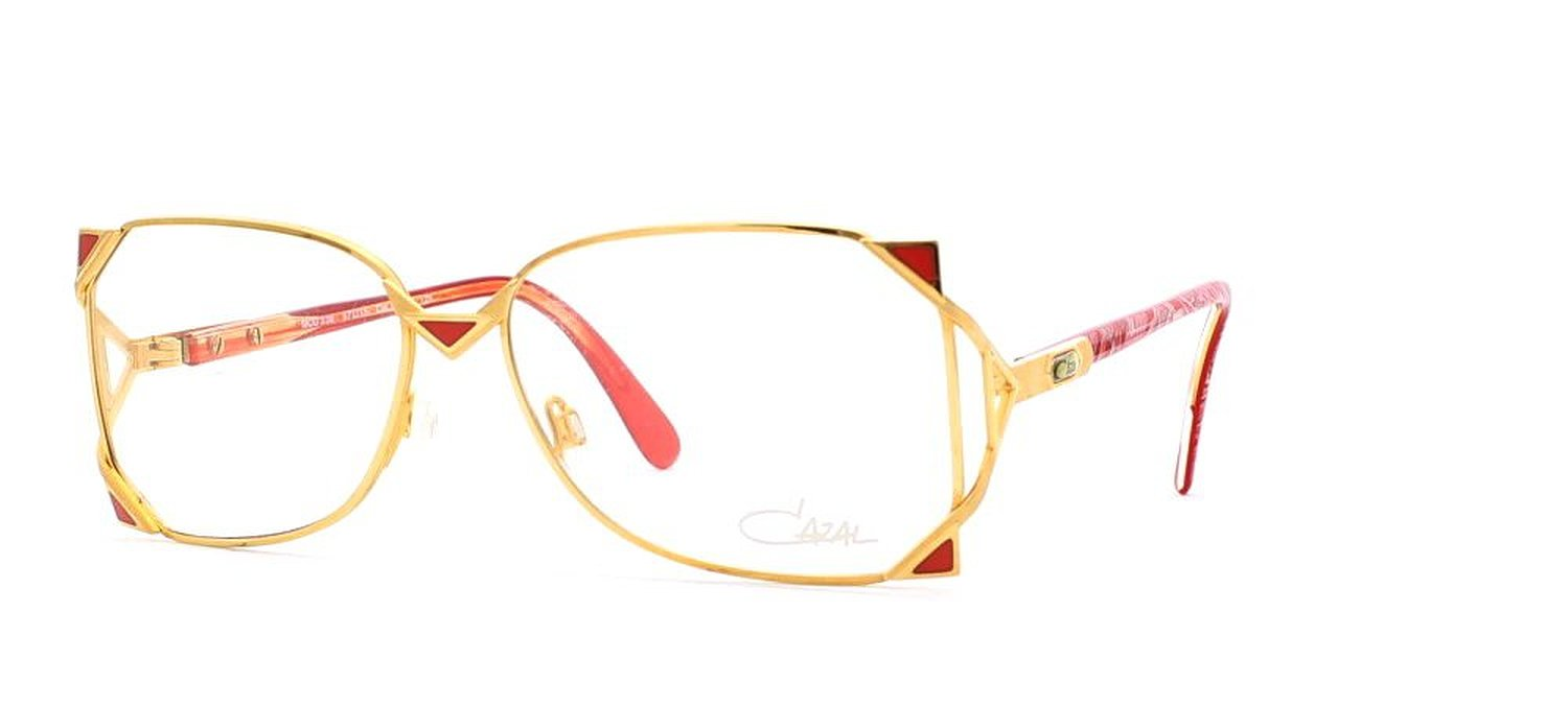 Cazal Authentic Vintage Women Eyeglasses with Gold and Red Frame