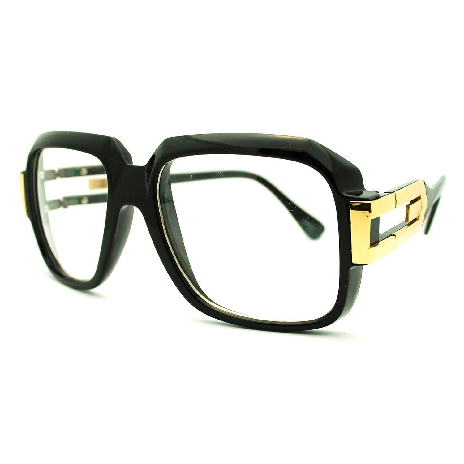 Run DMC Style Oversized Rectangular Hip Hop Glasses with Metal Horn Rim