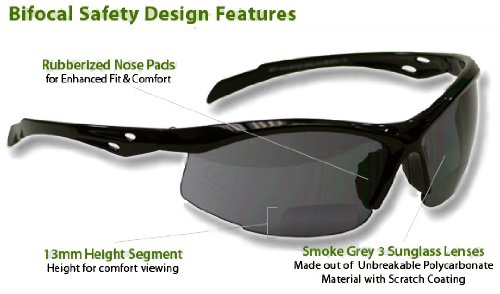 Bifocal Safety Glasses Smoke colored lens