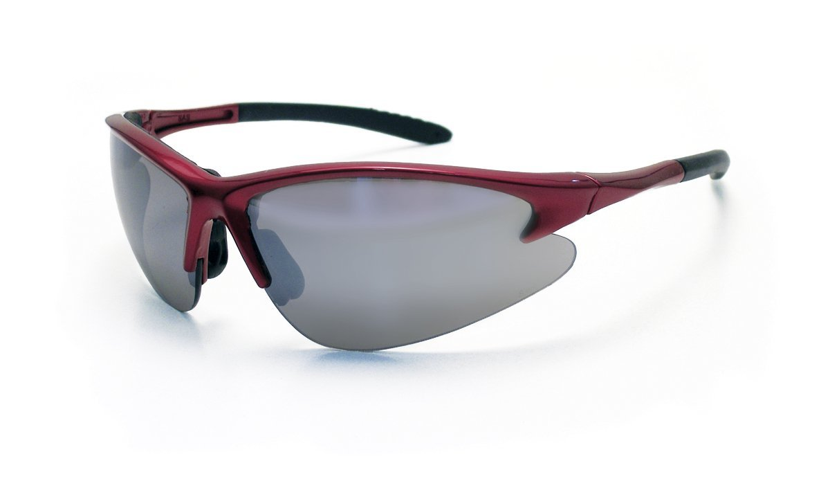 SAS Safety Eyewear with Mirror Lens and Red Frame