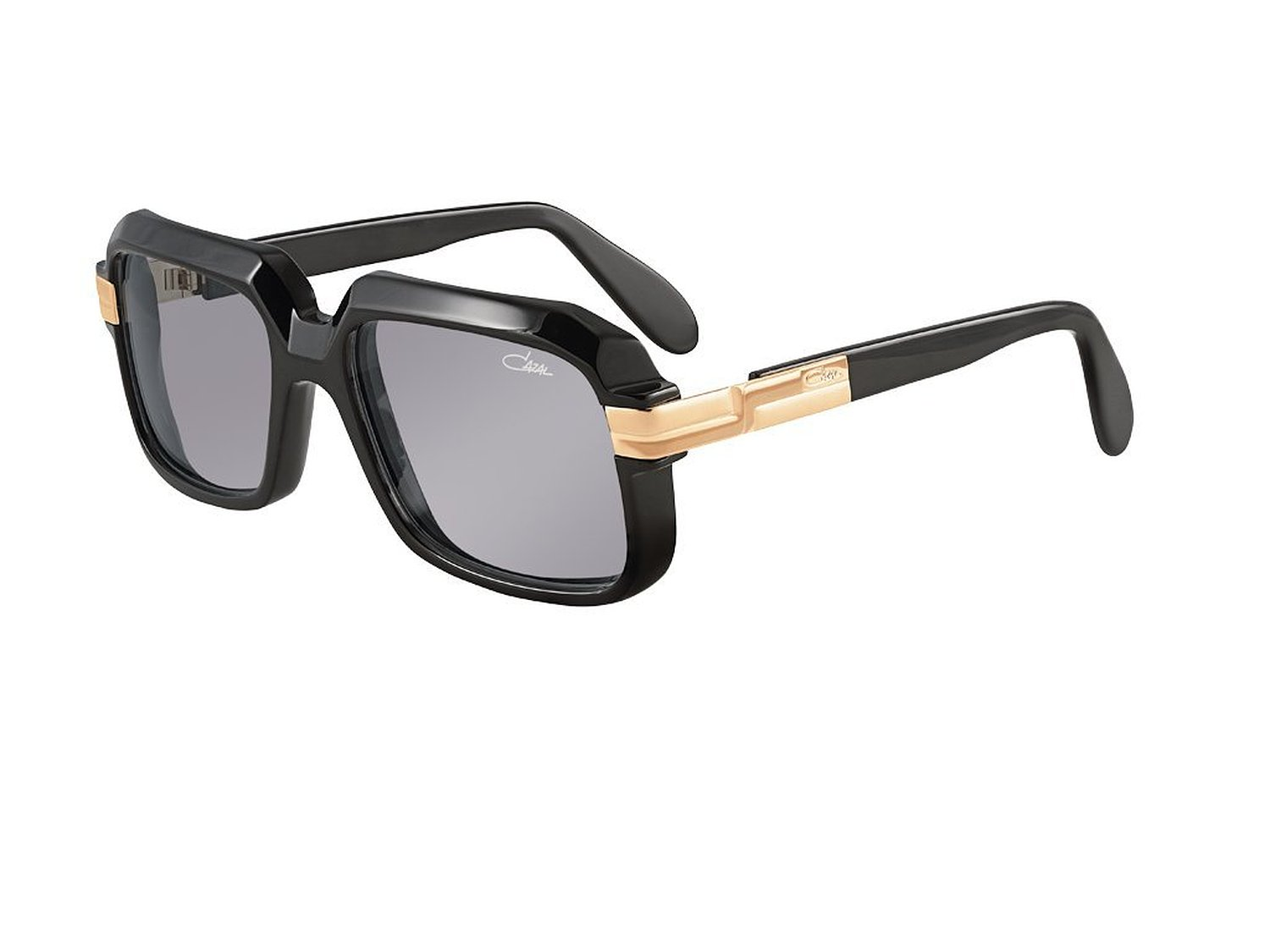 Cazal Schwarz Sonnebrille Sunglasses with Black Frames and Gold Accents